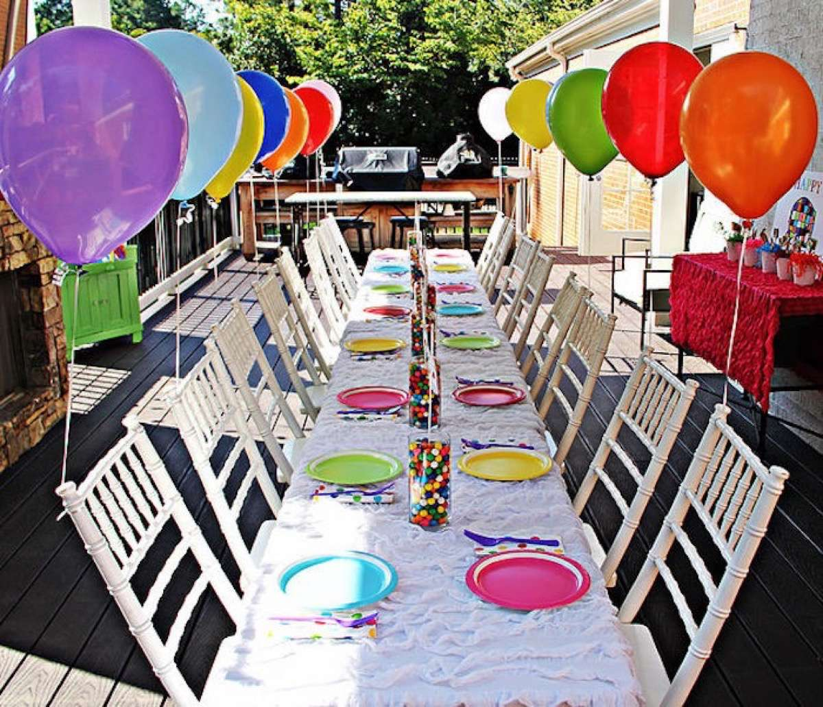 tables decorated for birthdays