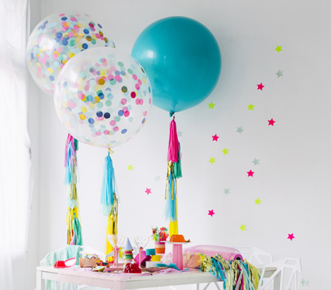 Transparent balloon with confetti