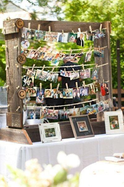 The clothesline recounts the love story of the bride and groom.
