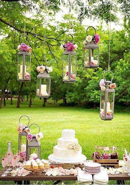 Lanterns with flowers and candles.