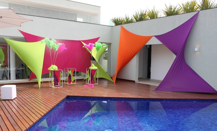 Tensioned meshes are great for decorating the pool
