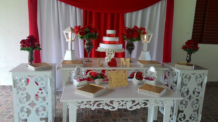 Beautiful panel with meshes in red and white
