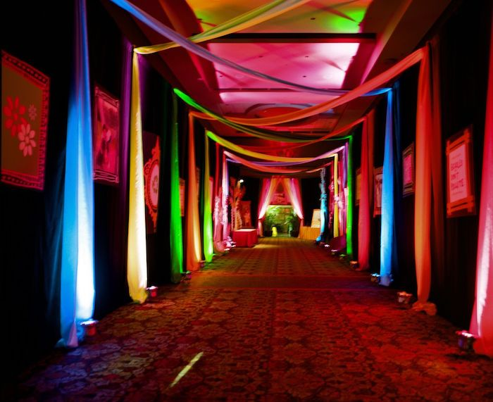 Corridor decorated with meshes and colored lights