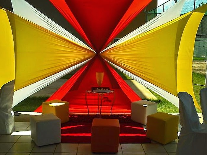 Composition with fabrics in red and yellow colors