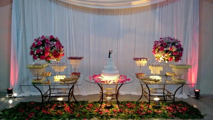 White fabric as a wedding table background.