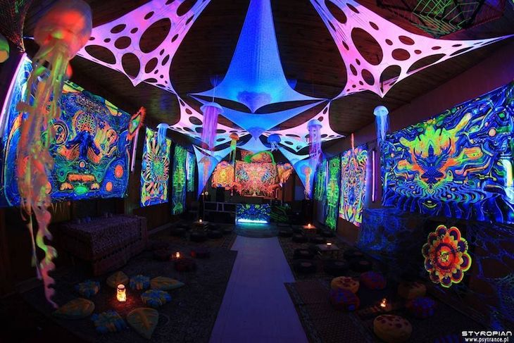 Psychedelic tent with tensioned mesh.