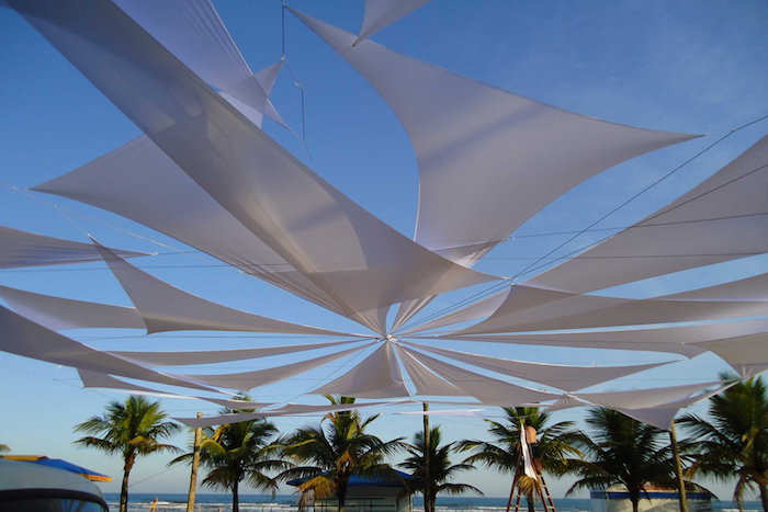 White lycra looks stunning in outdoor party decor.