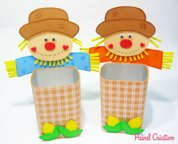 Scarecrow with milk carton