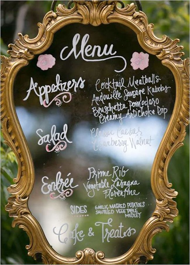 A mirror with a crafted frame turned into a menu