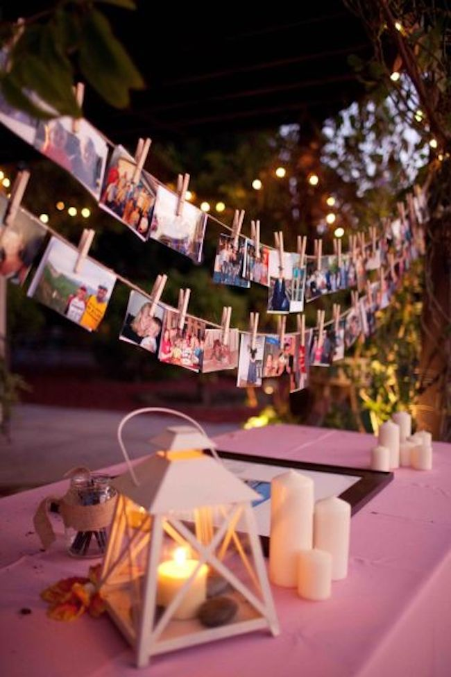The clothesline with pictures of happy moments is a great strategy to remember the good times.