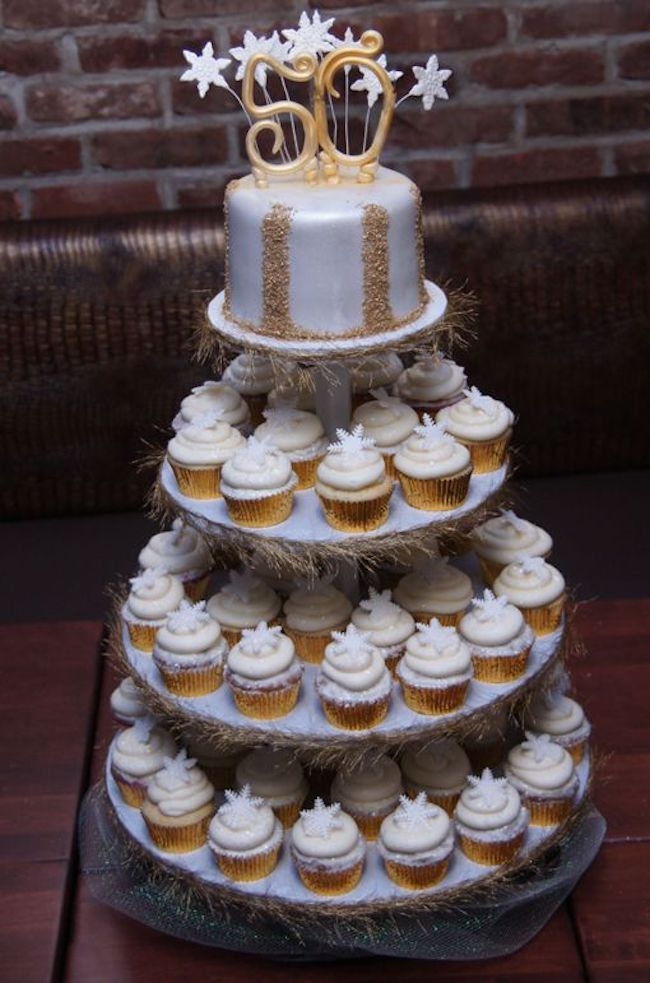Tower of cupcakes to celebrate 5 decades
