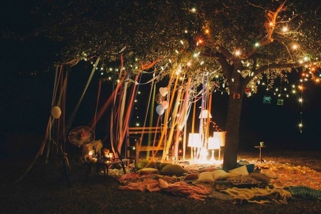 To celebrate your birthday, set up a cozy outdoor space