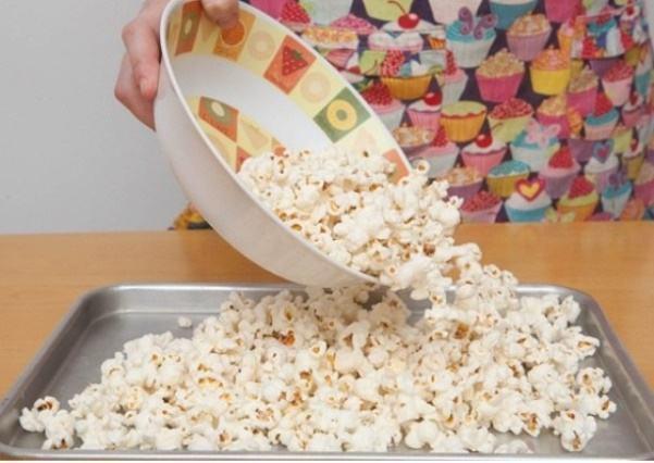 Pop the popcorn without adding salt.