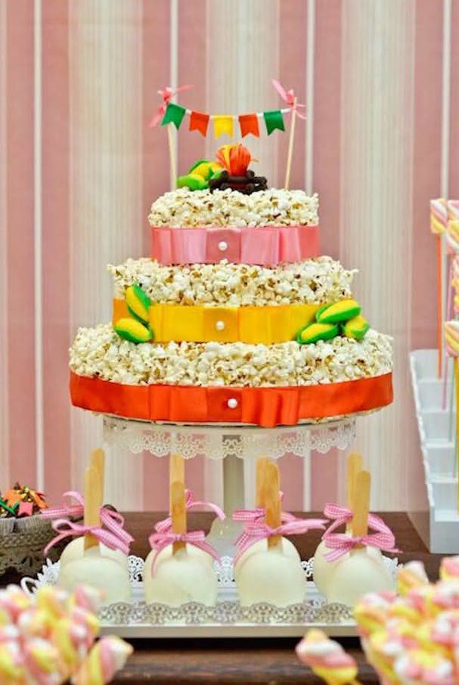 Popcorn cake shares space with other sweets on the table