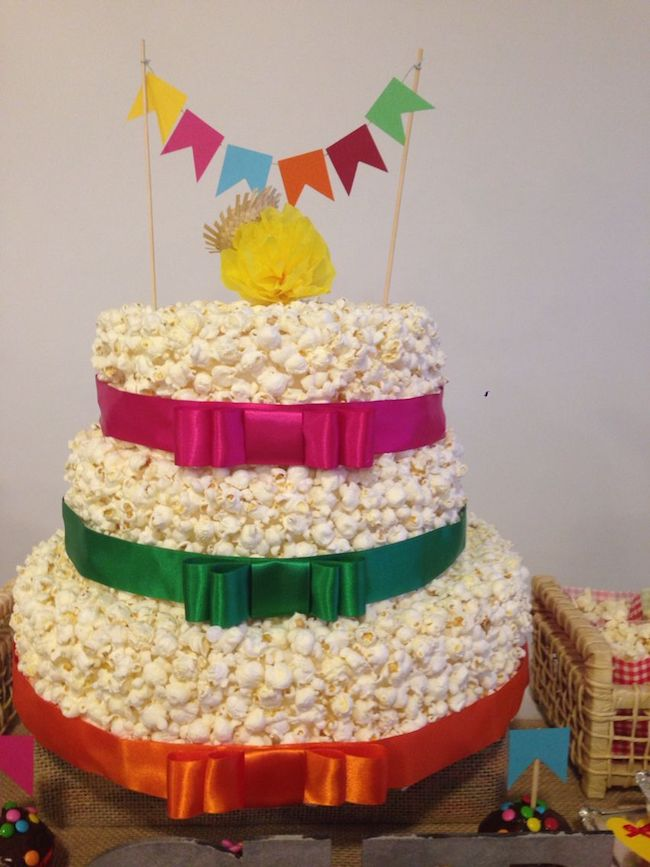 Ribbon bows adorn the cake