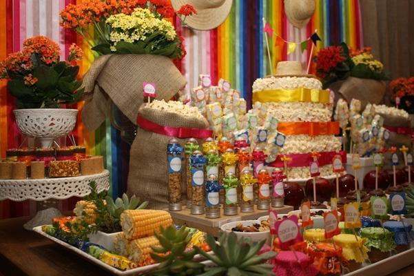 A super colorful June party table