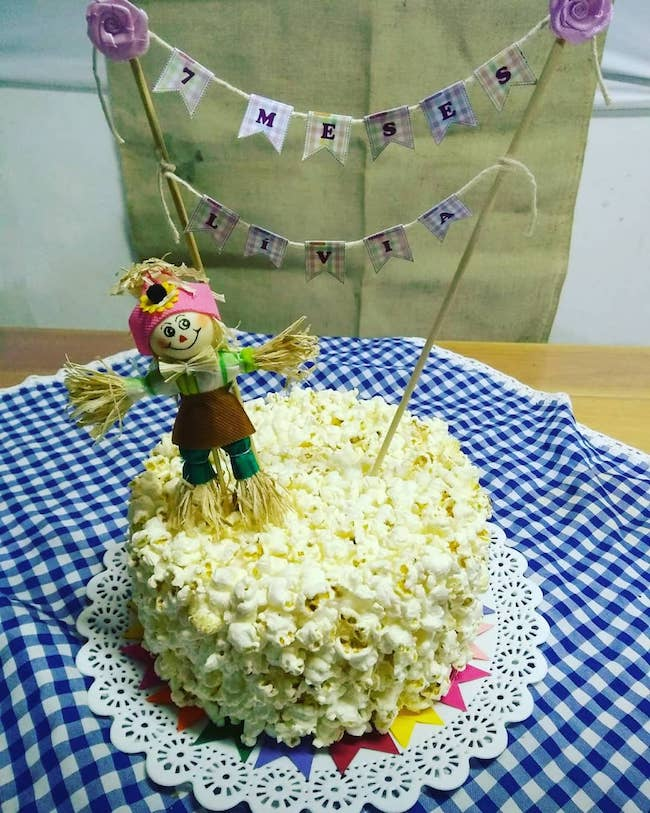 Small cake with scarecrow on top