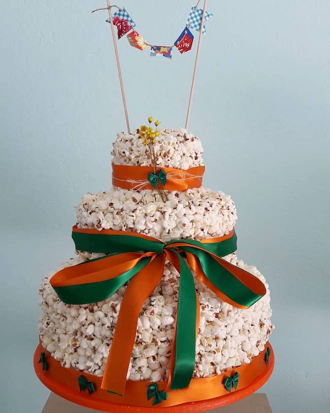 Here, a decoration with orange and green ribbons