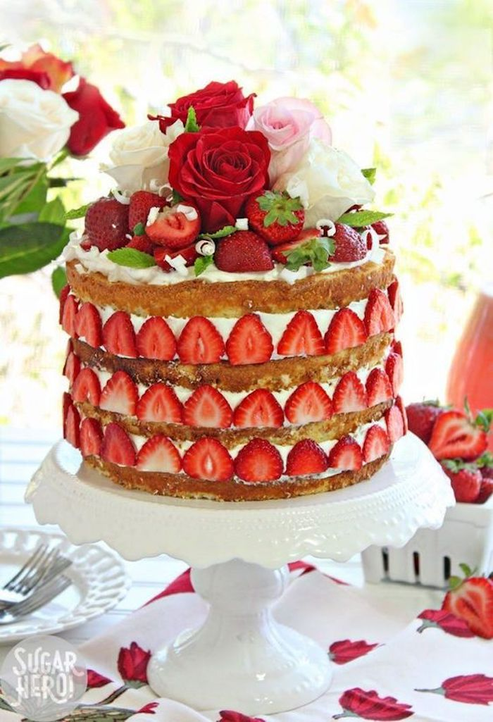 Strawberries decorate the sides
