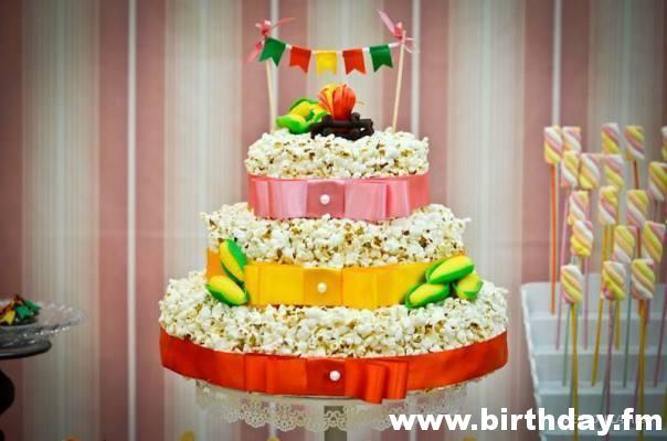 Junk popcorn cake with three floors