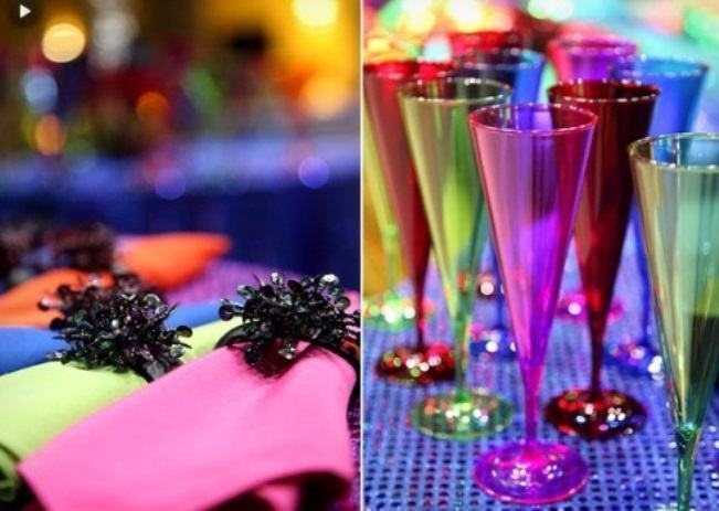 Colorful accessories match the theme of the party.