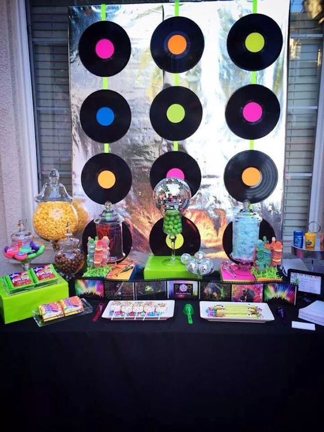 The bottom of the main table was decorated with vinyl records