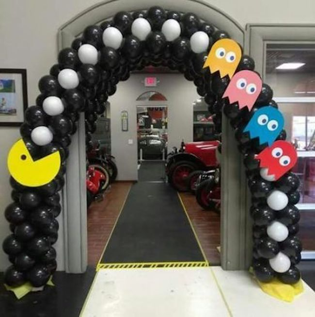 The party entrance was decorated with balloons and Pac-Man symbols