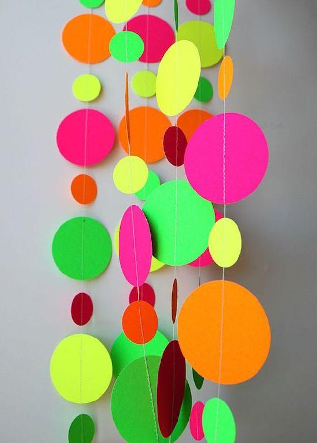Use neon circle curtains