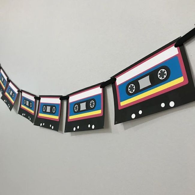 Clothesline with K-7 ribbons are used to decorate the wall