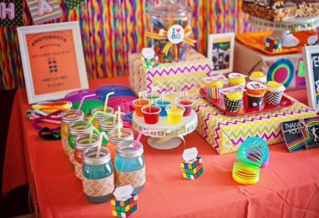 Colorful jellies and juices on the table