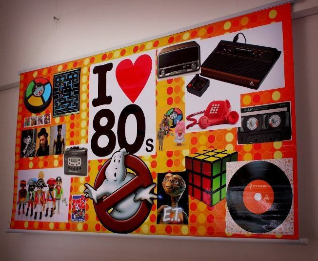 Mural full of references from the 80s.