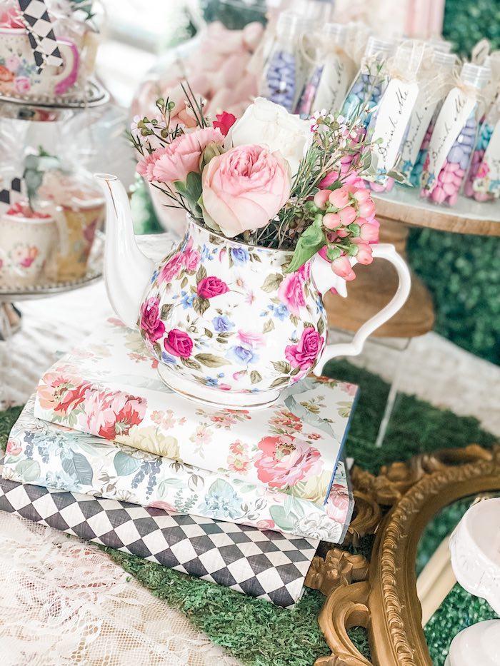 Arrangement assembled with flowered teapot