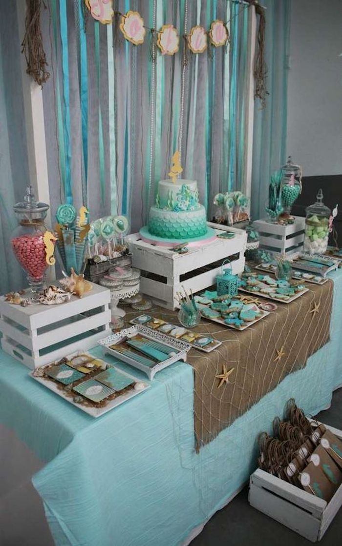 Party decoration based on blue and beige palette