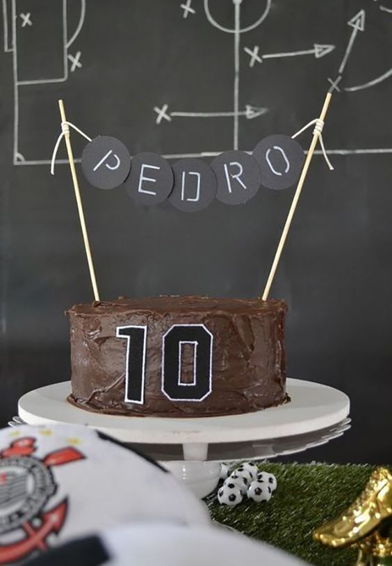 Chocolate covered cake and shirt number on the side